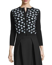 Carolina Herrera 3 4 Sleeve Floral Embellished Cardigan Black Green White Women's