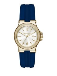 Michael Kors Mini Dylan Goldtone Sterling Silver And Silicone Strap Watch Navy Gold