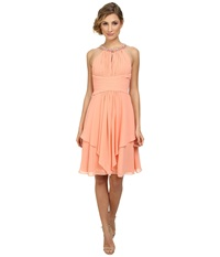 Donna Morgan Sophie Beaded Halter Dress Peach Fuzz Women's Dress Yellow