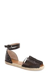 Women's French Connection 'Usha' Huarache Ankle Strap Sandal Black Leather