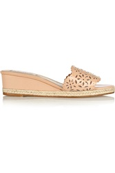Oscar De La Renta Lido Laser Cut Patent Leather Wedge Sandals Pink