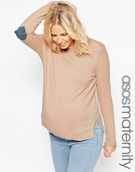 Asos Maternity Boxy Jumper With Denim Heart Elbow Patch Pink