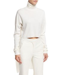 Tibi Turtleneck Knit And Woven Pullover Ivory
