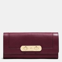 Coach Swagger Slim Envelope Wallet In Pebble Leather Light Gold Burgundy
