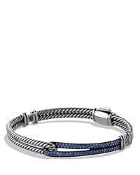 David Yurman Petite Pave Labyrinth Single Loop Bracelet With Blue Sapphires Silver Blue