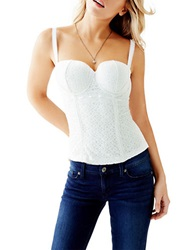 Guess Lace Bustier Top White