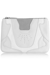 Alexander Wang Paneled Leather Patent Leather And Suede Pouch White