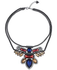 Guess Hematite Tone Crystal Aztec Bib Necklace Multi