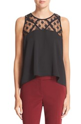 Milly Women's Illusion Lace Stretch Silk Trapeze Top
