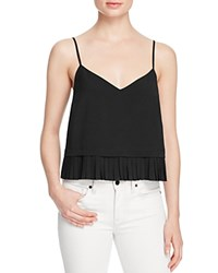 French Connection Polly Pleat Cropped Tank Black