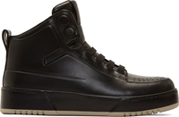 3.1 Phillip Lim Black Buffed Leather High Top Sneakers