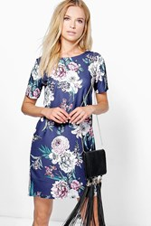 Boohoo Floral Cap Sleeve Shift Dress Navy
