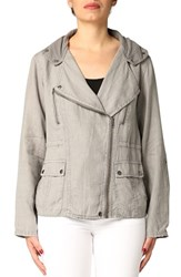 Women's Michael Stars Linen Moto Jacket With Detachable Hood