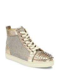 Christian Louboutin Lou Spikes Metallic High Top Sneakers Version Gold