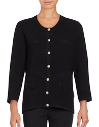 Karl Lagerfeld Ribbed Button Front Cardigan Black