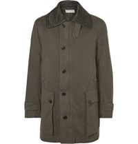 Dries Van Noten Drie Quilted Collar Cotton Twill Coat Green