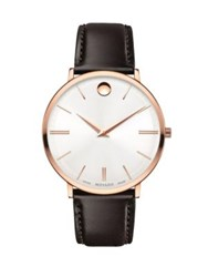 Movado Ultra Slim Rose Goldplated Stainless Steel Calfskin Leather Strap Watch Silver