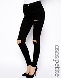 Asos Petite Ridley High Waist Ultra Skinny Jeans With Thigh Rip Black