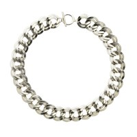 Monet Silver Double Textured Links Necklace