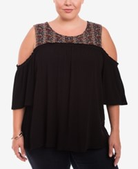 Eyeshadow Trendy Plus Size Cold Shoulder Top Black