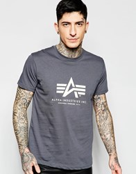 Alpha Industries T Shirt With Logo In Grey Grey