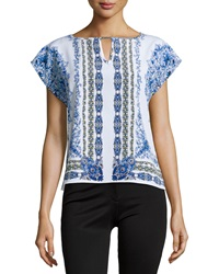 Laundry By Shelli Segal Floral Print Cap Sleeve Blouse Bright Blue Multi