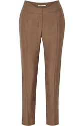 Agnona Silk Straight Leg Pants Brown