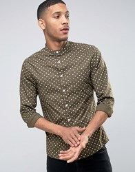 Asos Skinny Polka Dot Shirt With Grandad Collar In Khaki Khaki Green