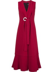 Proenza Schouler Sleeveless Belted Dress Red