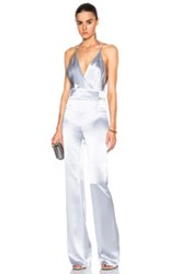 Galvan Satin Plunge Neck Jumpsuit In Gray