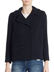 Milly Double Breasted Wool Blend Jacket Navy