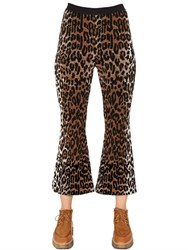 Stella Mccartney Flared Leopard Wool Blend Jacquard Pants