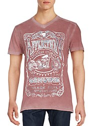 Affliction Graphic Printed T Shirt Burgundy Resin