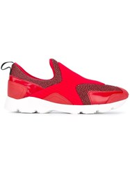 Maison Martin Margiela Mm6 Panelled Slip On Sneakers Red
