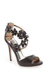 Women's Badgley Mischka 'Langley' Floral Applique Sandal Black Leather