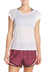 Nike Women's 'Cool Breeze' Burnout Dri Fit Tee White Reflective Silver