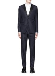Givenchy Satin Madonna Collar Wool Jacquard Tuxedo Suit Blue