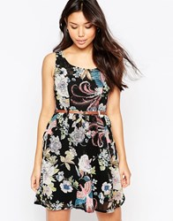Yumi Belted Floral And Bird Print Dress Black