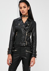 Missguided Black Faux Leather Quilted Biker Jacket