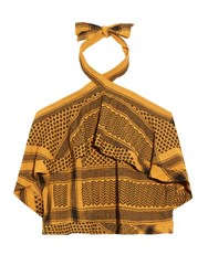Cecilie Copenhagen Scarf Jacquard Off The Shoulder Top Yellow