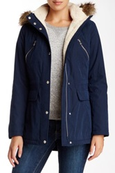 Nautica Faux Fur Trim Anorak Blue