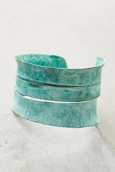 Anthropologie Sliced Patina Cuff Turquoise