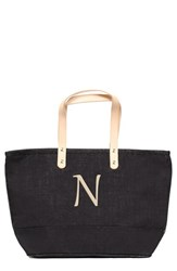 Cathy's Concepts 'Nantucket' Personalized Jute Tote Black Black N