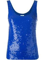 P.A.R.O.S.H. All Over Sequined Tank Top Blue
