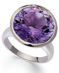 Macy's Sterling Silver Ring Round Amethyst Ring 10 3 4 Ct. T.W.