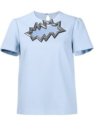 Christopher Kane Smash Motif Short Sleeve Top Blue