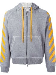 Moncler X Off White Striped Printed Hoodie Grey