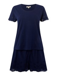 Dickins And Jones Jersey Front Broderie Back Tee And Short Set Navy