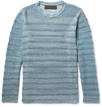 The Elder Statesman Striped Melange Cashmere Sweater Blue