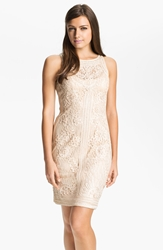 Sue Wong Illusion Bodice Lace Sheath Dress Beige